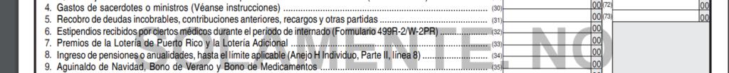 Figura 1: Parte II, Línea 7 del Anejo IE de la planilla para reportar el premio de la Lotería Electronica de Puerto Rico.