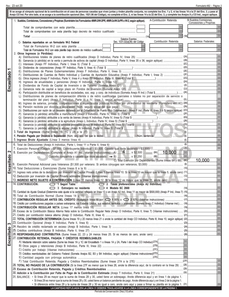 Cómo reportar los dependientes en la planilla de contribución sobre ingresos 2020 4